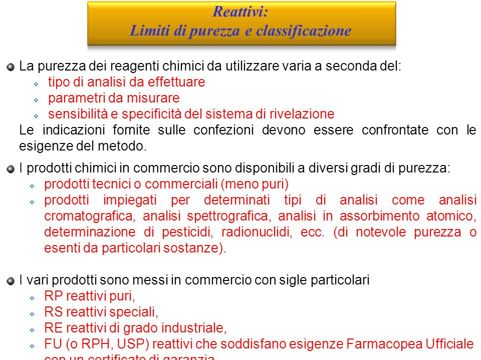 Limiti di purezza e classificazione
