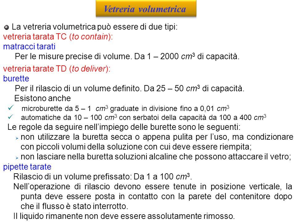 Vetreria volumetrica La vetreria volumetrica può essere di due tipi: