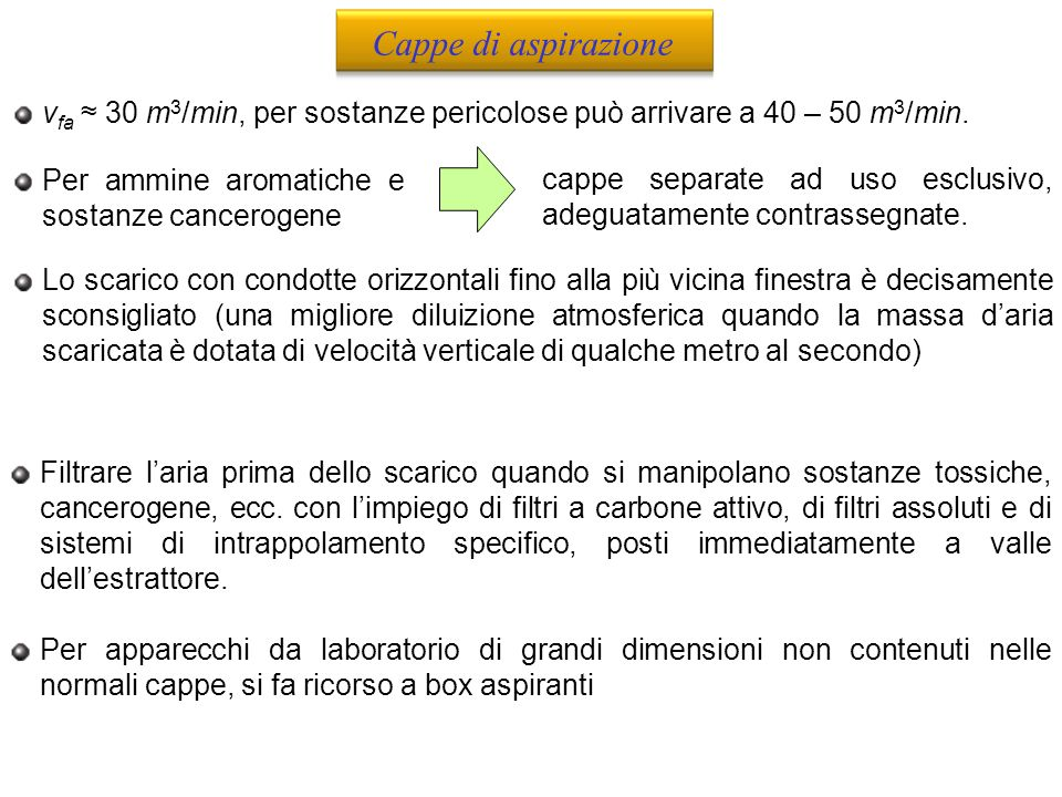 Cappe di aspirazione vfa ≈ 30 m3/min, per sostanze pericolose può arrivare a 40 – 50 m3/min. Per ammine aromatiche e sostanze cancerogene.