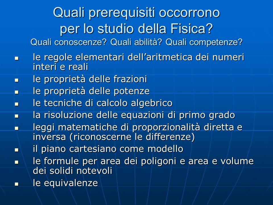 Quali prerequisiti occorrono per lo studio della Fisica