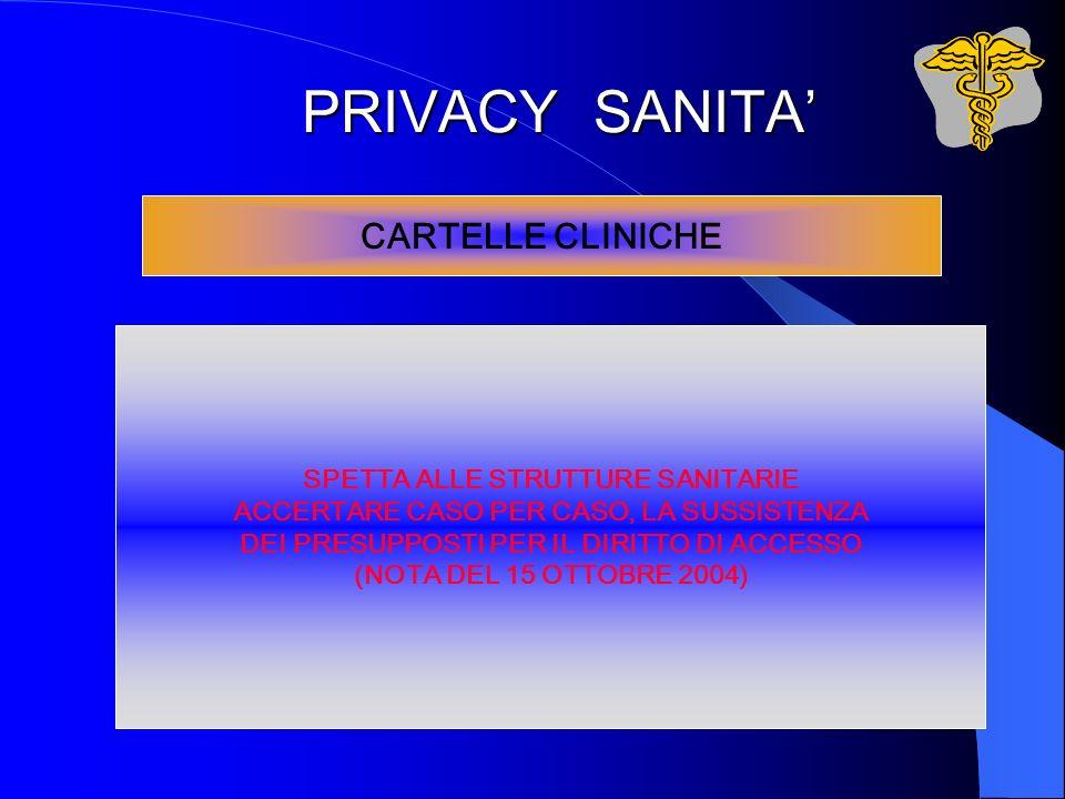 PRIVACY SANITA' CARTELLE CLINICHE SPETTA ALLE STRUTTURE SANITARIE