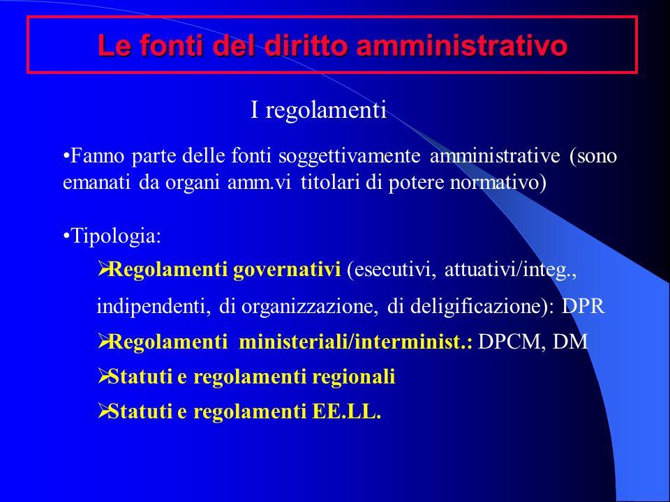 Le fonti del diritto amministrativo