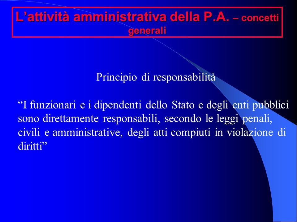 L'attività amministrativa della P.A. – concetti generali