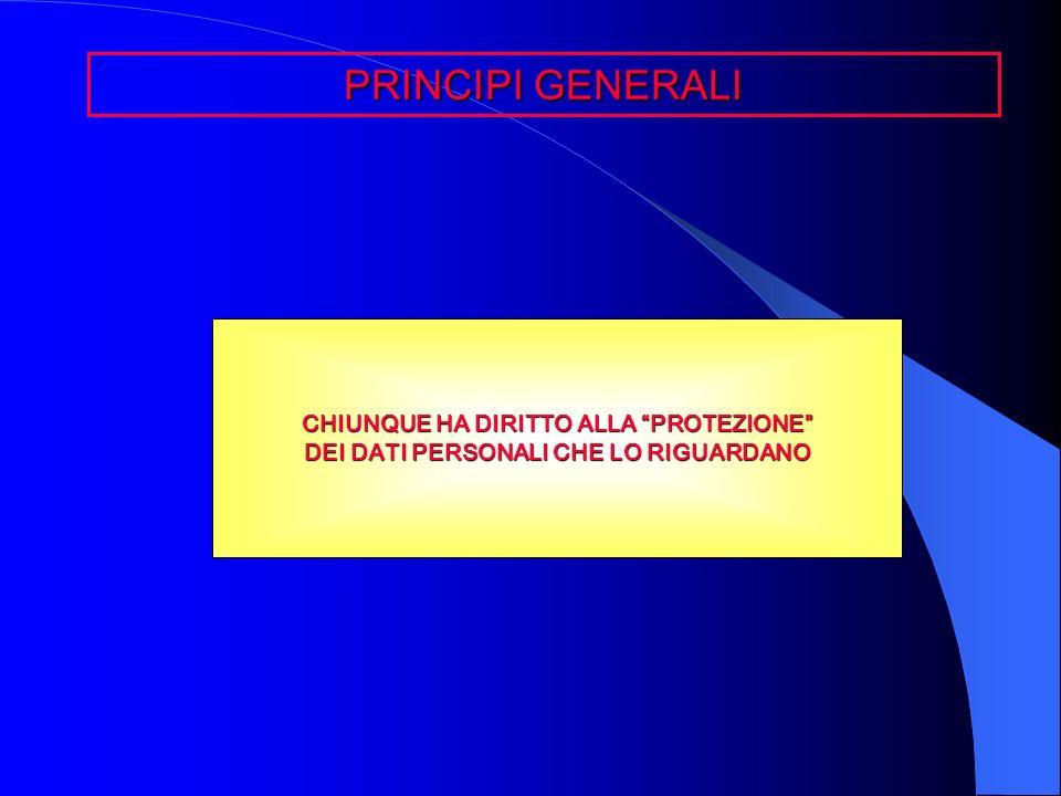 PRINCIPI GENERALI CHIUNQUE HA DIRITTO ALLA PROTEZIONE