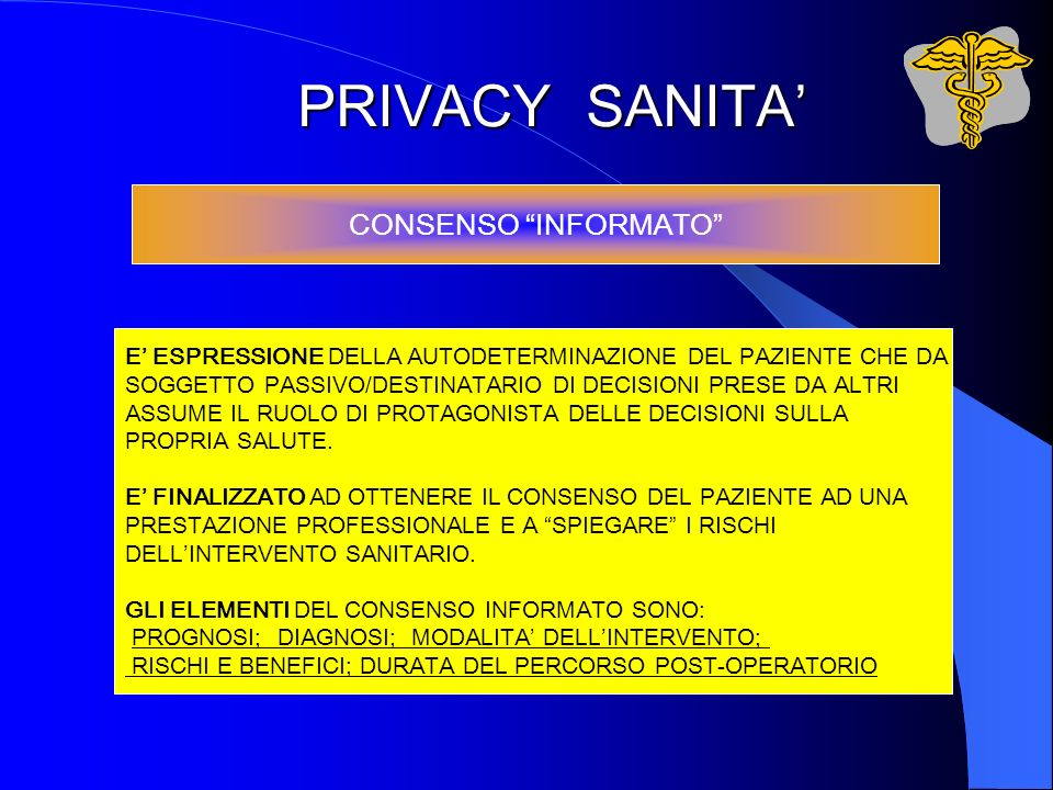 PRIVACY SANITA' CONSENSO INFORMATO