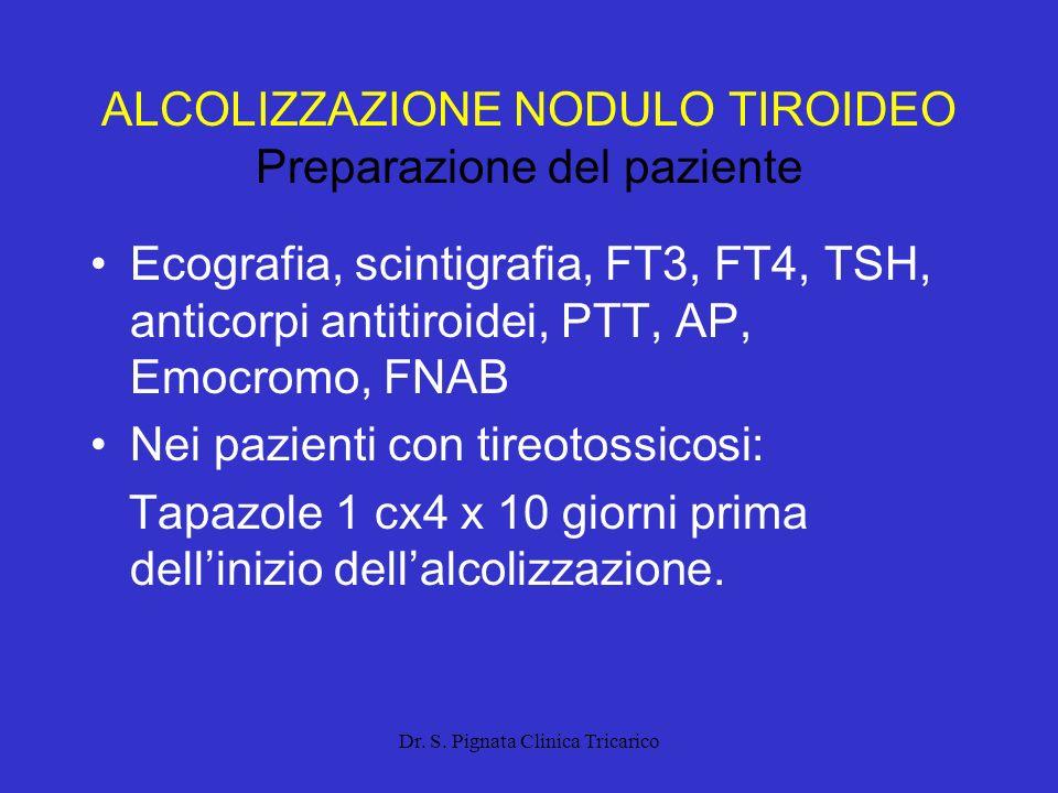 ALCOLIZZAZIONE NODULO TIROIDEO Preparazione del paziente