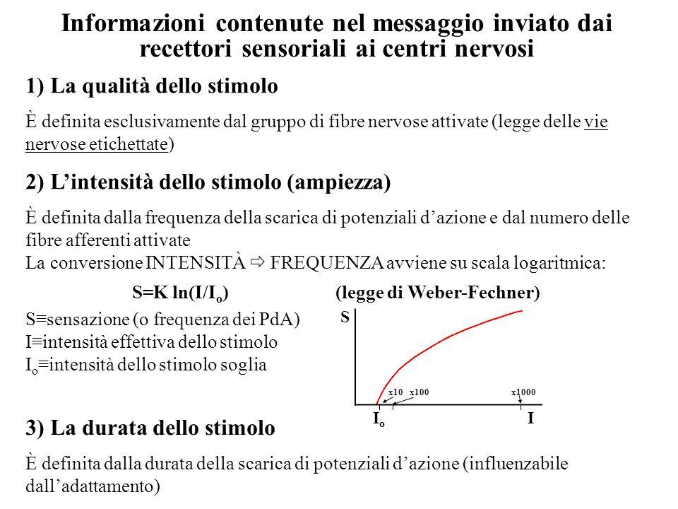S=K ln(I/Io) (legge di Weber-Fechner)