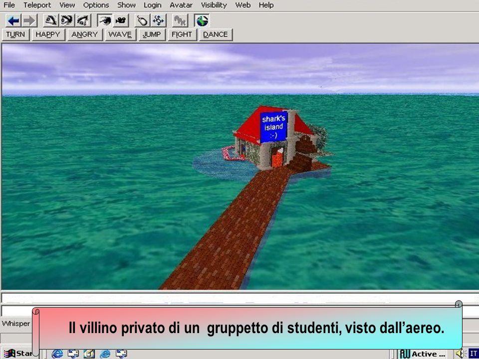 Il villino privato di un gruppetto di studenti, visto dall'aereo.
