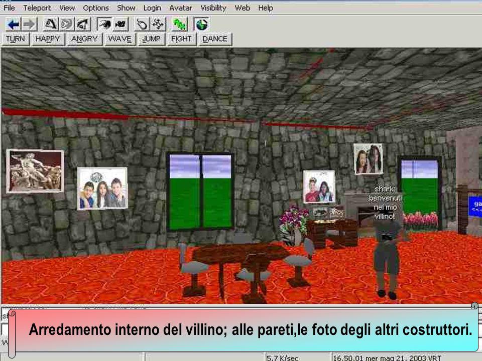 Arredamento interno del villino; alle pareti,le foto degli altri costruttori.