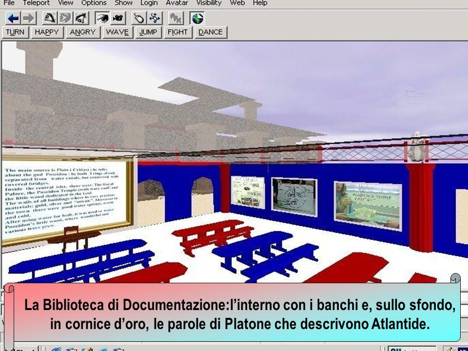 La Biblioteca di Documentazione:l'interno con i banchi e, sullo sfondo, in cornice d'oro, le parole di Platone che descrivono Atlantide.