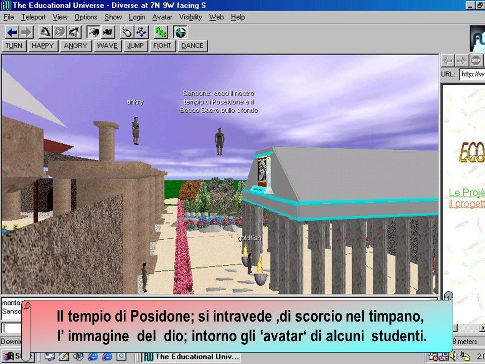 Il tempio di Posidone; si intravede ,di scorcio nel timpano,