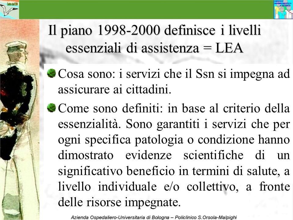 Il piano 1998-2000 definisce i livelli essenziali di assistenza = LEA