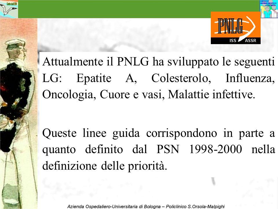Attualmente il PNLG ha sviluppato le seguenti LG: Epatite A, Colesterolo, Influenza, Oncologia, Cuore e vasi, Malattie infettive.
