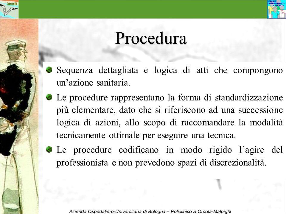 ProceduraSequenza dettagliata e logica di atti che compongono un'azione sanitaria.