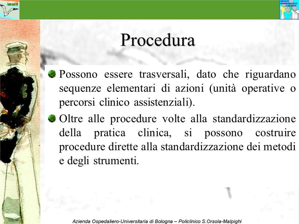 Procedura Possono essere trasversali, dato che riguardano sequenze elementari di azioni (unità operative o percorsi clinico assistenziali).