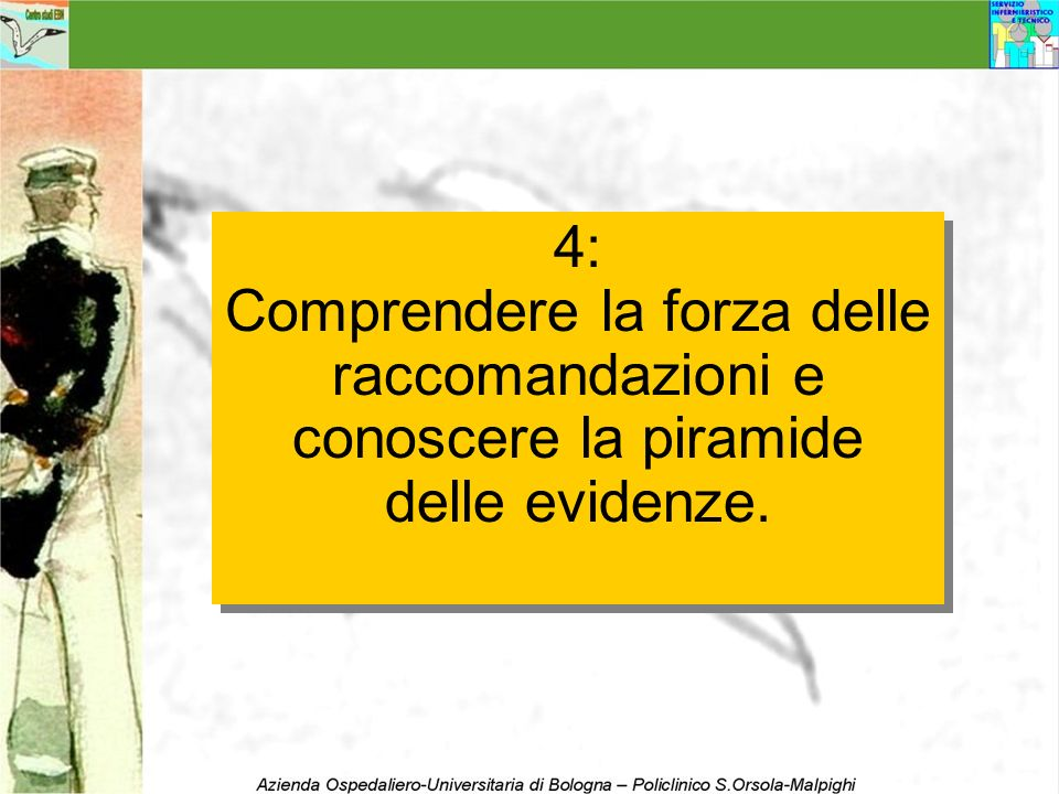 4: Comprendere la forza delle raccomandazioni e conoscere la piramide delle evidenze.