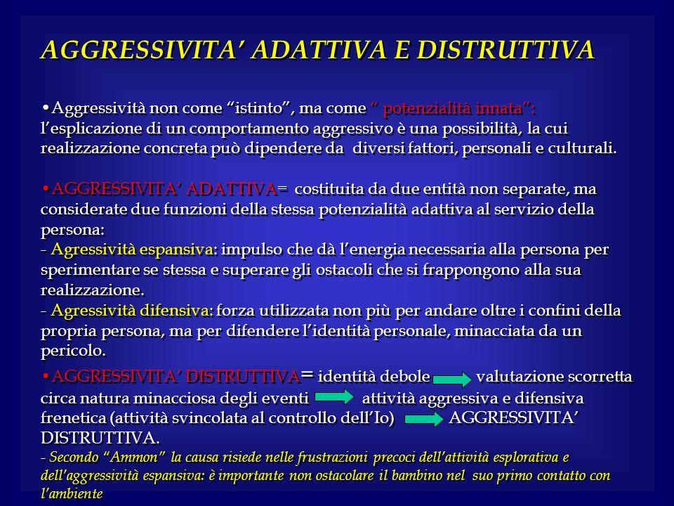 AGGRESSIVITA' ADATTIVA E DISTRUTTIVA