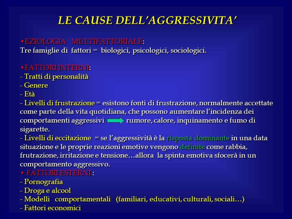 LE CAUSE DELL'AGGRESSIVITA'