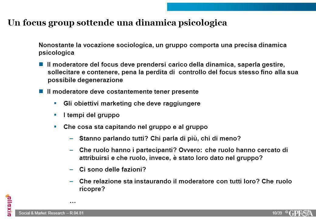 Un focus group sottende una dinamica psicologica