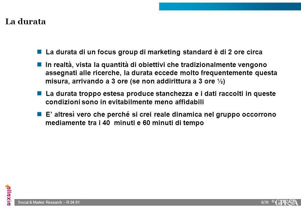 La durata di un focus group di marketing standard è di 2 ore circa