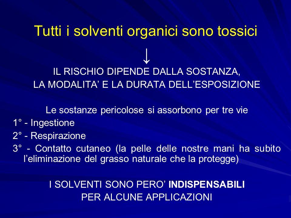 Tutti i solventi organici sono tossici