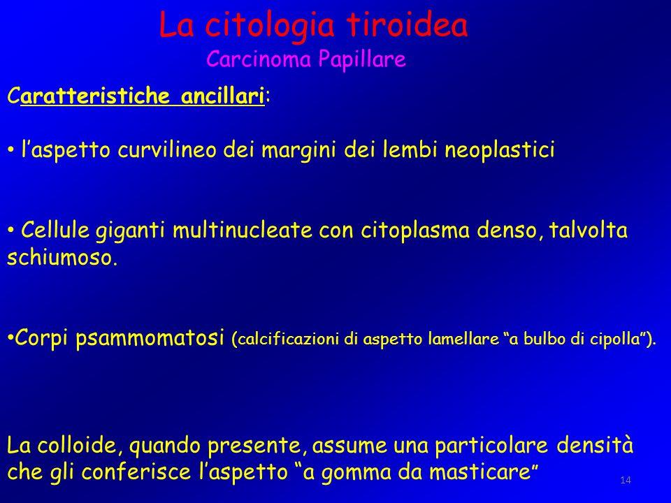 La citologia tiroidea Carcinoma Papillare Caratteristiche ancillari: