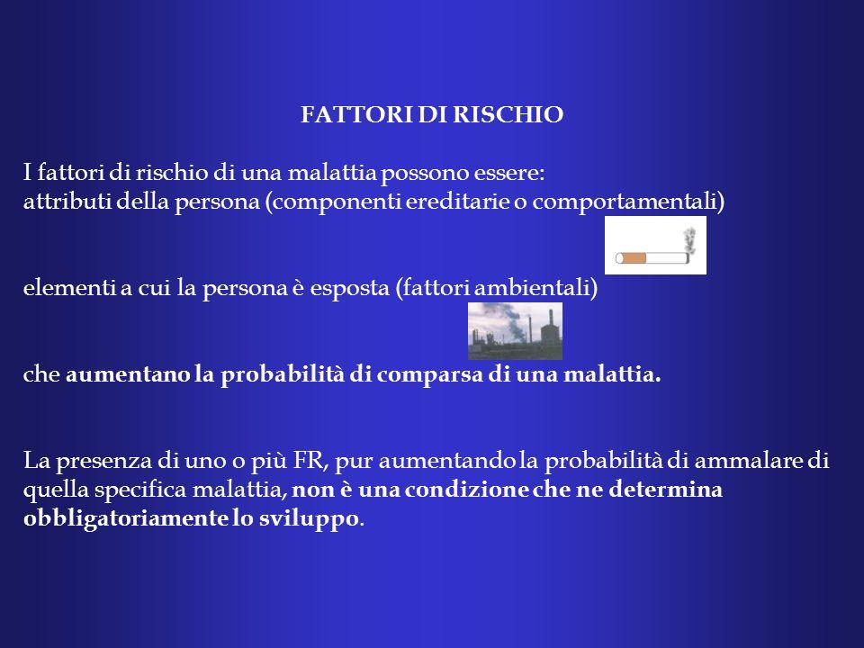 FATTORI DI RISCHIO I fattori di rischio di una malattia possono essere: attributi della persona (componenti ereditarie o comportamentali)