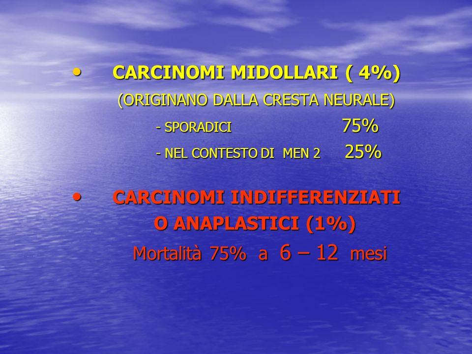 CARCINOMI MIDOLLARI ( 4%) (ORIGINANO DALLA CRESTA NEURALE)