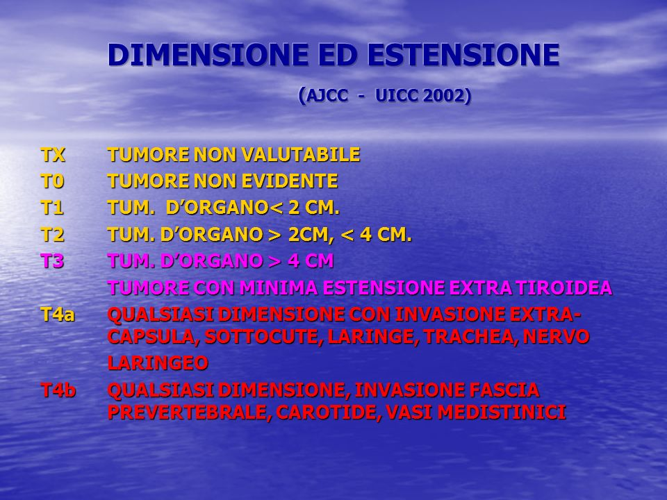 DIMENSIONE ED ESTENSIONE (AJCC - UICC 2002)