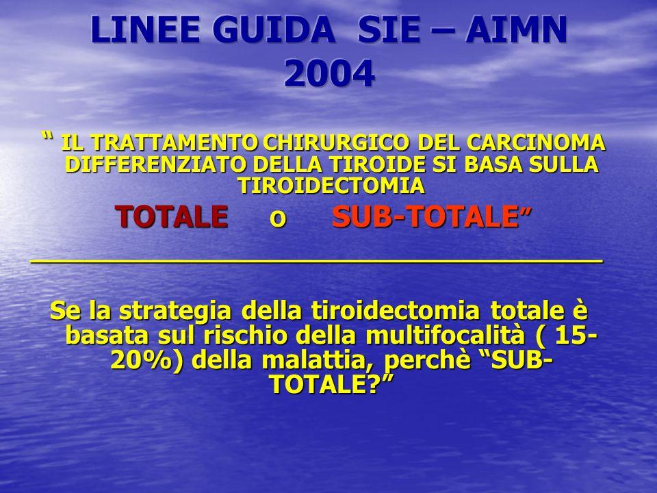 LINEE GUIDA SIE – AIMN 2004 IL TRATTAMENTO CHIRURGICO DEL CARCINOMA DIFFERENZIATO DELLA TIROIDE SI BASA SULLA TIROIDECTOMIA.