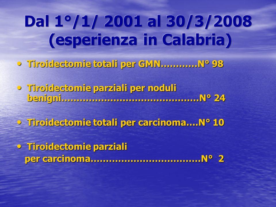 Dal 1°/1/ 2001 al 30/3/2008 (esperienza in Calabria)