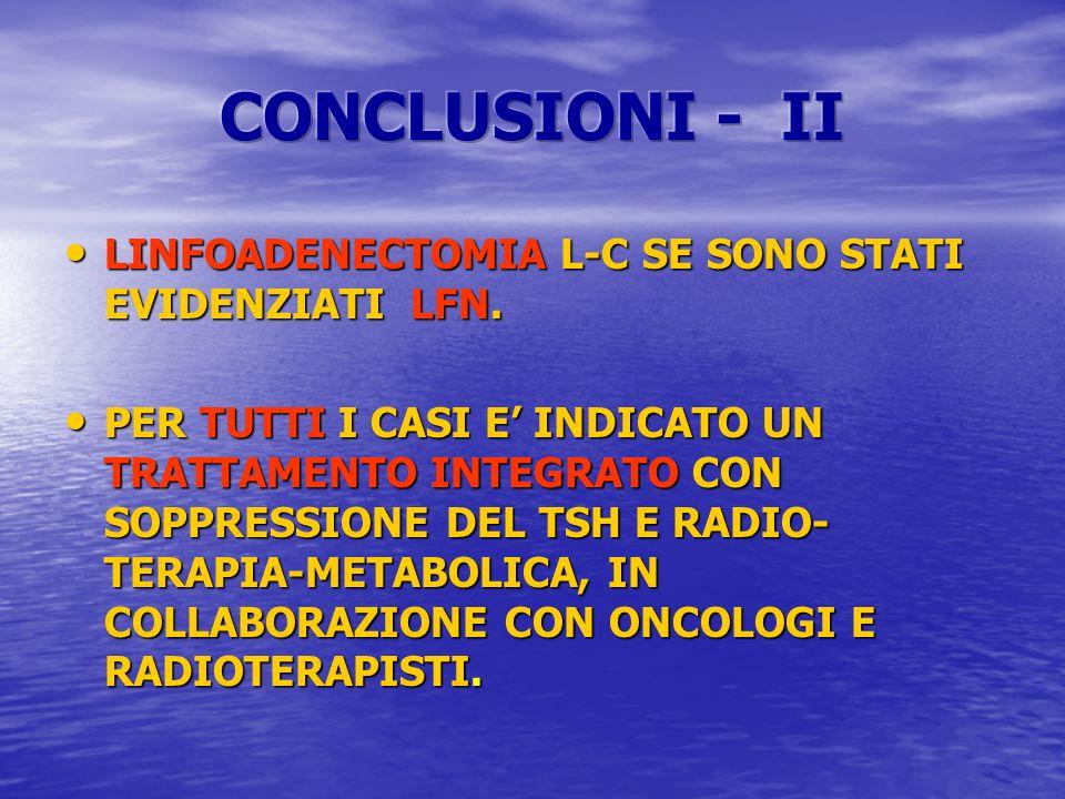 CONCLUSIONI - II LINFOADENECTOMIA L-C SE SONO STATI EVIDENZIATI LFN.