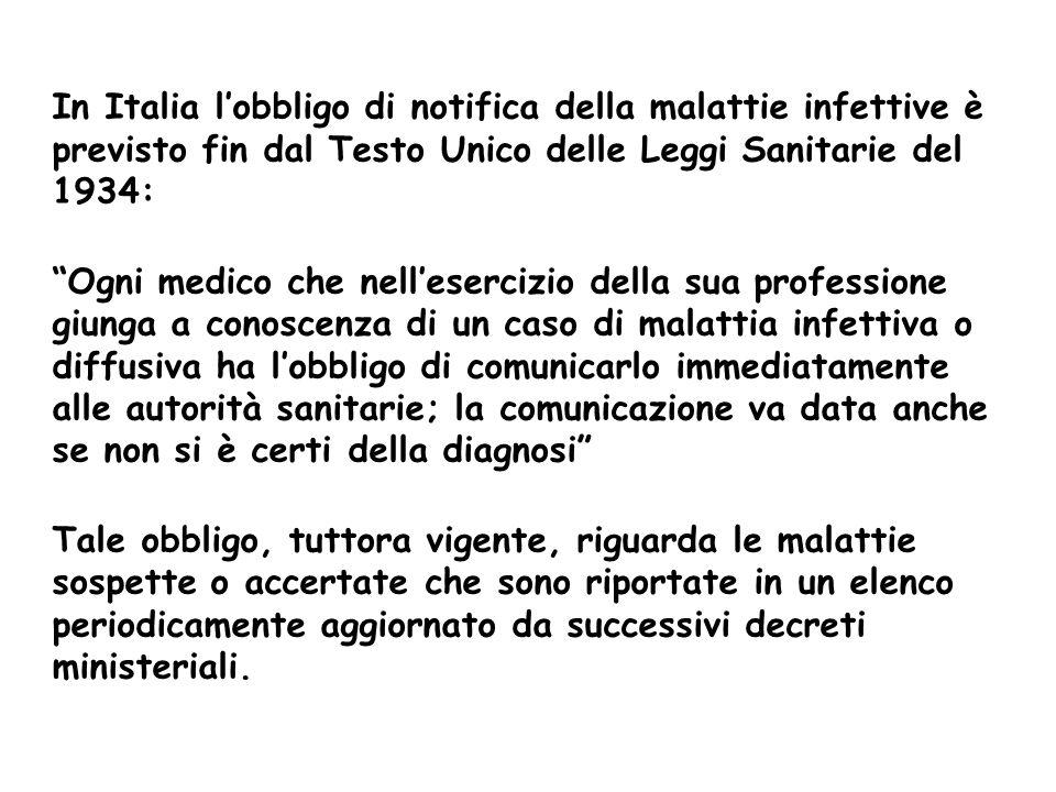 In Italia l'obbligo di notifica della malattie infettive è previsto fin dal Testo Unico delle Leggi Sanitarie del 1934: