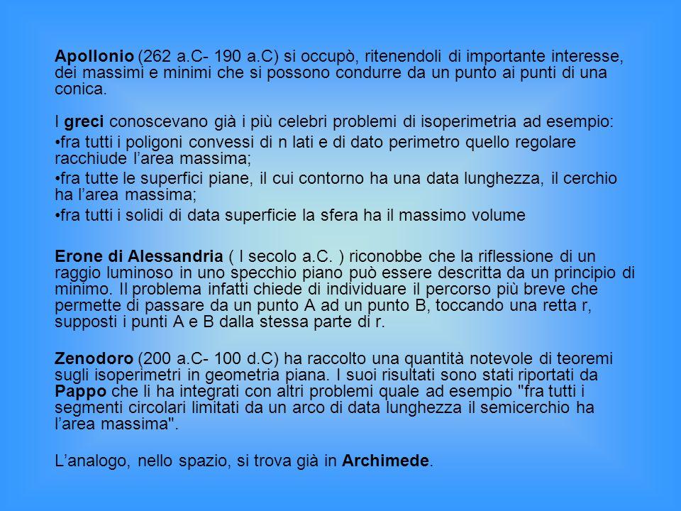Apollonio (262 a.C- 190 a.C) si occupò, ritenendoli di importante interesse, dei massimi e minimi che si possono condurre da un punto ai punti di una conica. I greci conoscevano già i più celebri problemi di isoperimetria ad esempio: