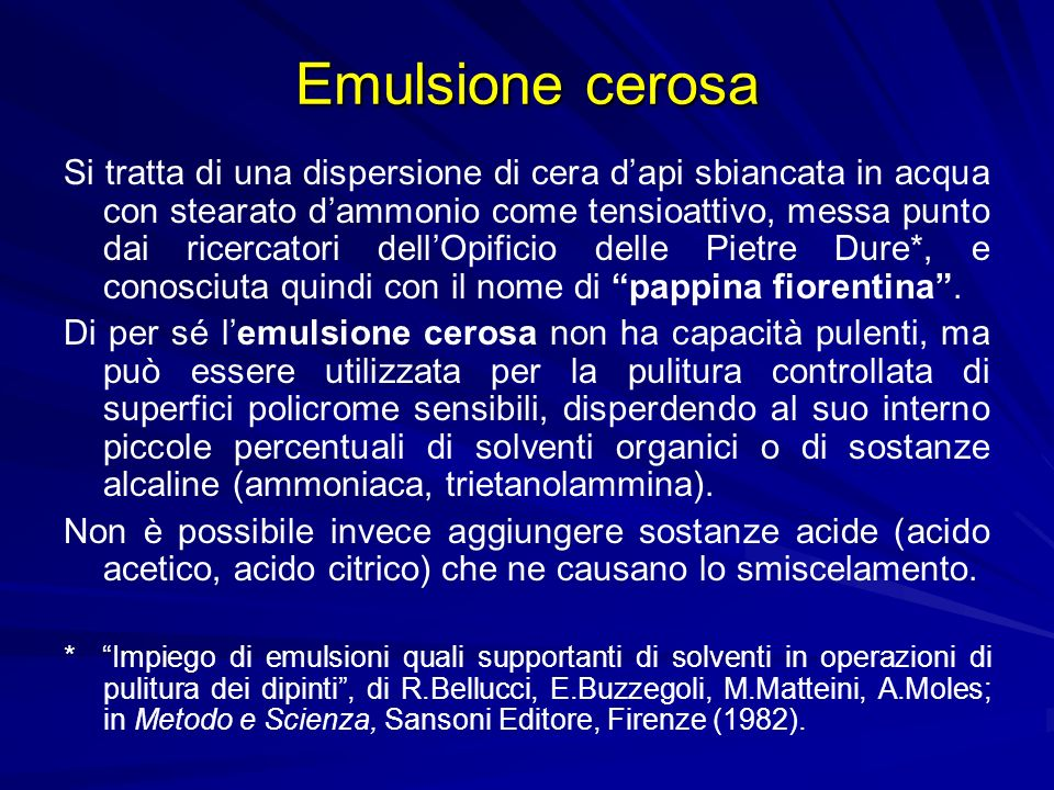 Emulsione cerosa