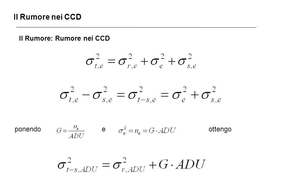 Il Rumore nei CCD Il Rumore: Rumore nei CCD ponendo e ottengo