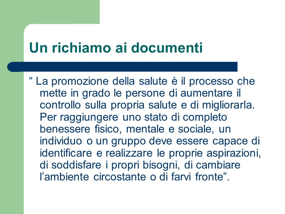 Un richiamo ai documenti