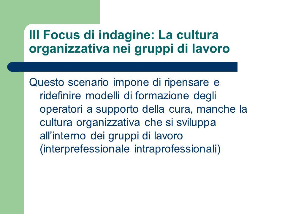 III Focus di indagine: La cultura organizzativa nei gruppi di lavoro