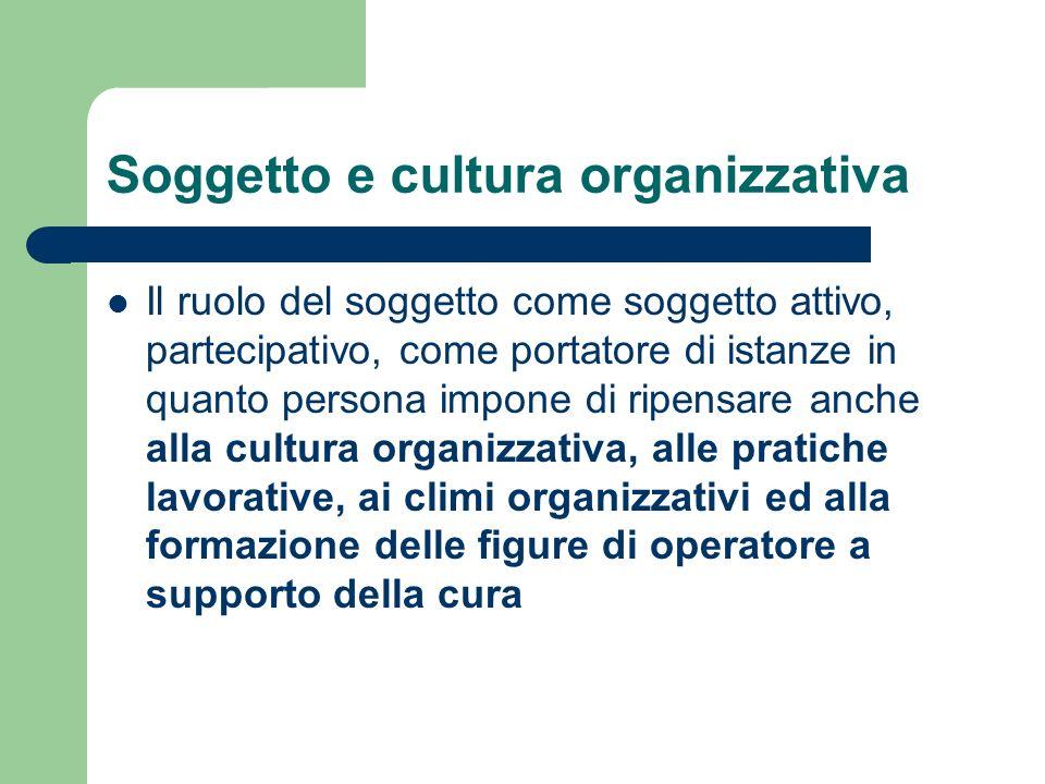 Soggetto e cultura organizzativa