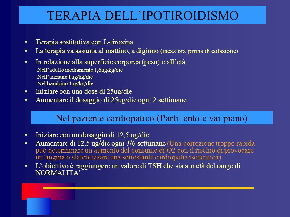 TERAPIA DELL'IPOTIROIDISMO
