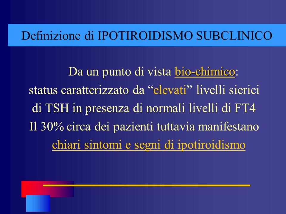 Definizione di IPOTIROIDISMO SUBCLINICO