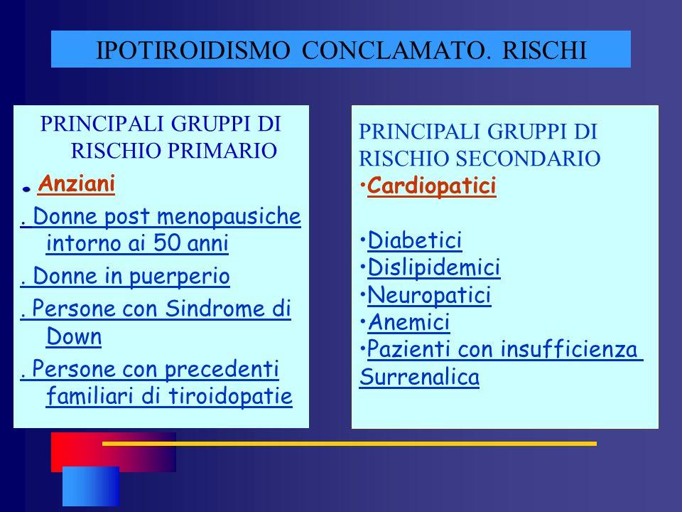IPOTIROIDISMO CONCLAMATO. RISCHI