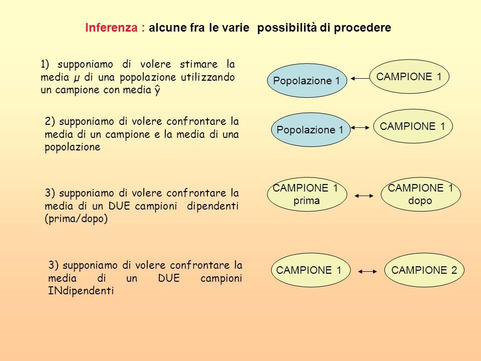 Inferenza : alcune fra le varie possibilità di procedere