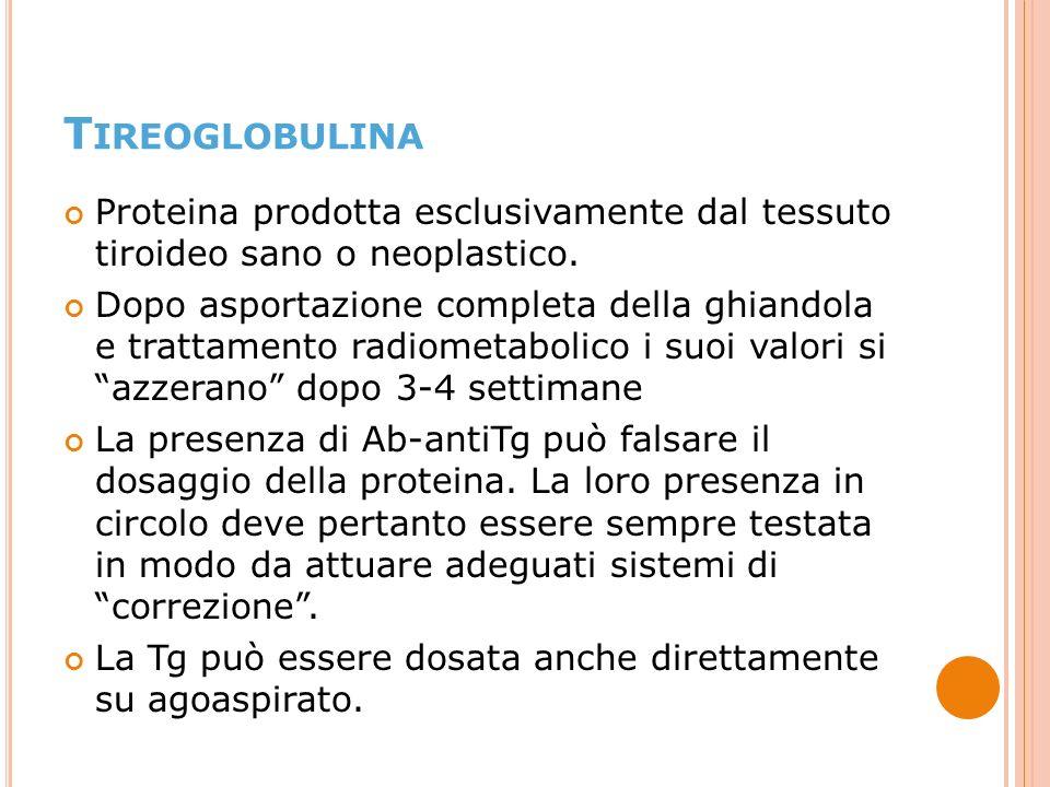 Tireoglobulina Proteina prodotta esclusivamente dal tessuto tiroideo sano o neoplastico.