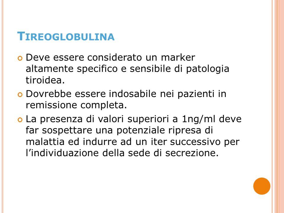 Tireoglobulina Deve essere considerato un marker altamente specifico e sensibile di patologia tiroidea.