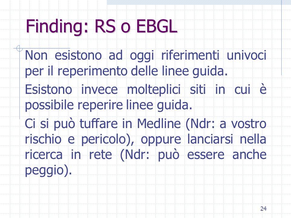 Finding: RS o EBGL Non esistono ad oggi riferimenti univoci per il reperimento delle linee guida.