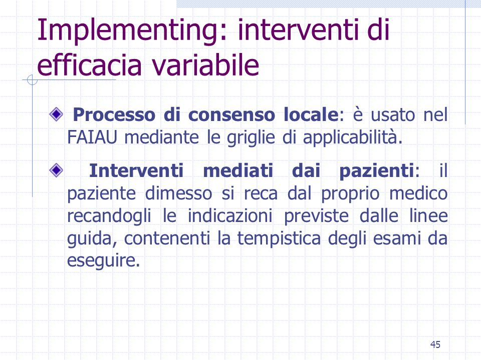 Implementing: interventi di efficacia variabile