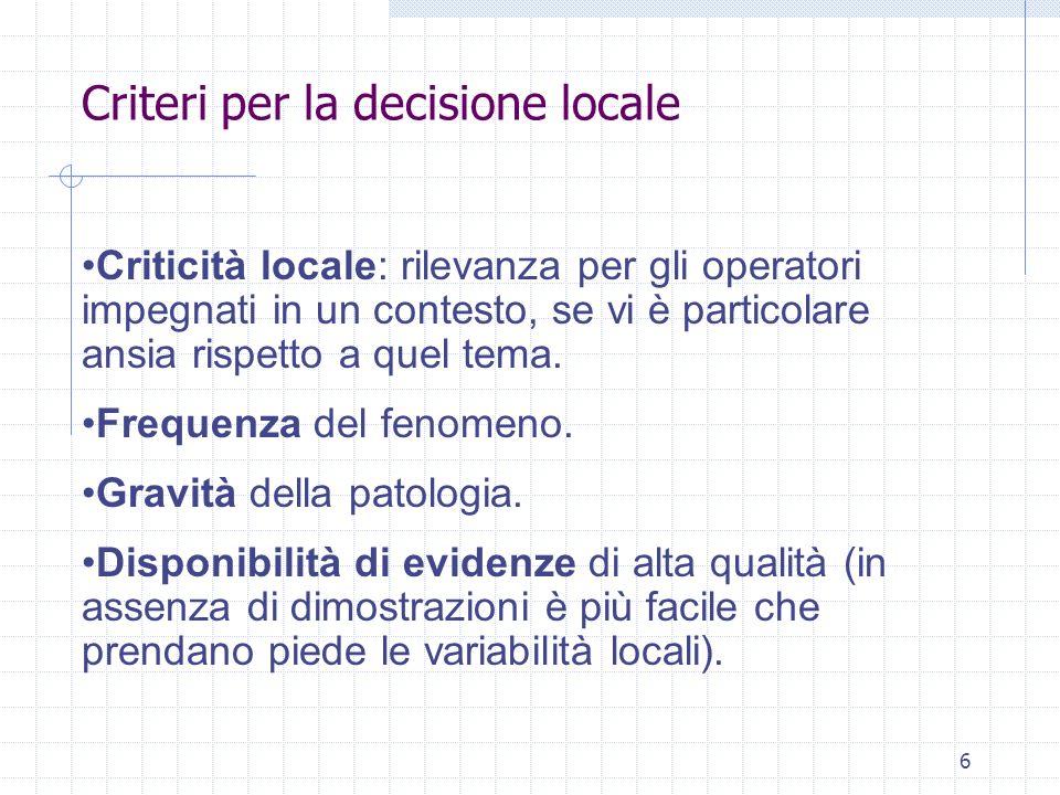 Criteri per la decisione locale