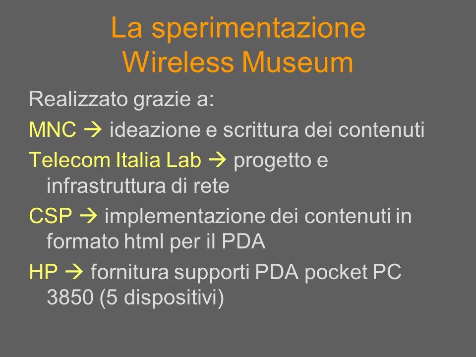 La sperimentazione Wireless Museum