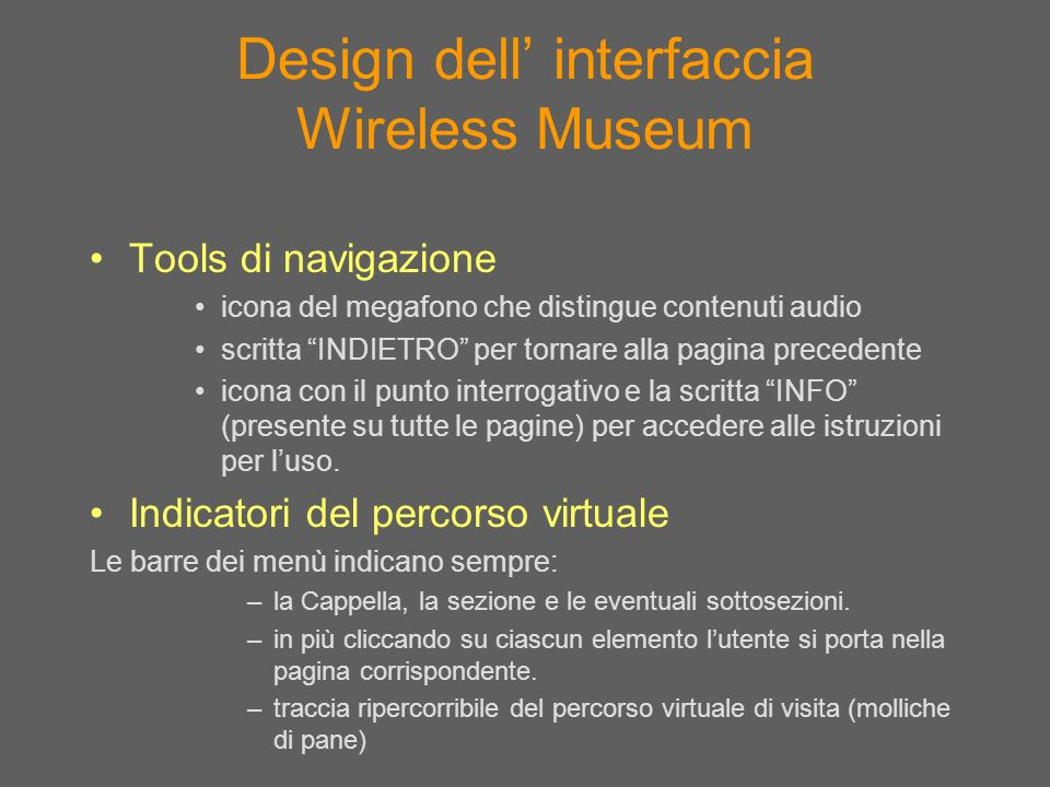 Design dell' interfaccia Wireless Museum